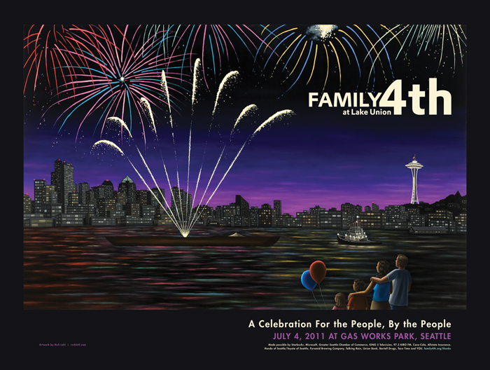 One Reel Productions: Family 4th at Lake Union Poster Illustration