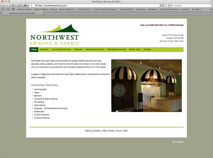 Northwest Awning & Fabric: Website Design