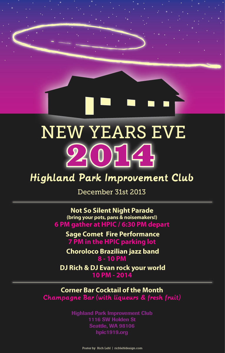 Highland Park Improvement Club New Year's Eve 2014 Event Poster